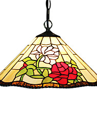 2 - Light Tiffany Pendent Lights with Flower Pattern