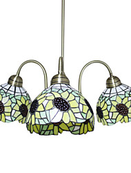 Tiffany Glass Chandeliers with 3 Lights in Sunflower Design