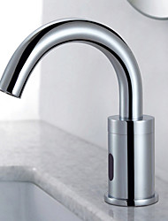 Sensor Brass Contemporary Bathroom Sink Faucet Chrome Finish