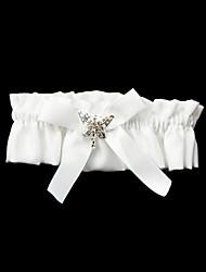 Garter Polyester Satin Bowknot White