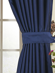 One Panel  Solid Ink Blue Classic Room Darkening Curtain