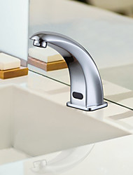 Contemporary Chrome Finish Sensor Brass Bathroom Sink Faucet
