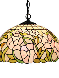 Tiffany 2 - Light Pendent Lights with Glass Shade Floral Pattern