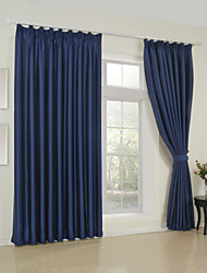 Two Panels Modern Solid Blue Bedroom Rayon Panel Curtains Drapes