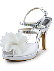 Women's Spring / Summer / Fall Peep Toe Satin / Stretch Satin Wedding / Party & Evening Stiletto Heel Flower Ivory / White