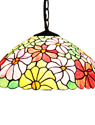 2 - Light Tiffany Pendent Lights with Chrysanthemum Pattern