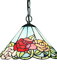 60W Tiffany Pendent Light with 1 Light in Roses Pattern