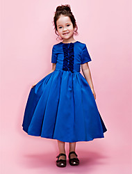 Ball Gown/A-line Tea-length Flower Girl Dress - Satin Short Sleeve
