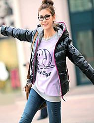 Women'S Long Sleeve Hooded Threaded Sleeve Bright Surface Warm Padded Cotton Jacket Coat
