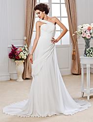 Lan Ting Sheath/Column Plus Sizes Wedding Dress - White Court Train One Shoulder Chiffon
