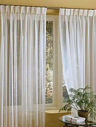 TWOPAGES® Two Panels  Linen White Solid Sheer Curtains Drapes