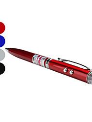 3-in-1 Kugelschreiber mit 2-Mode-weißes Licht und 5mW rote Laser (3xlr41, schwarze Tinte)