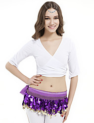 Belly Dance Tops Women's Training Crystal Cotton White Belly Dance / Yoga Spring, Fall, Winter, Summer Half Sleeve
