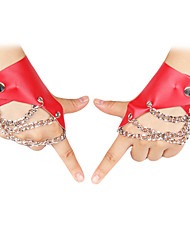 PU Fingerless Wrist Length Activity / Sports Gloves With Button (More Colors)
