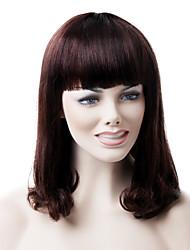 Mono Top High Quality Human Hair Medium Brown Wave Hair Wig