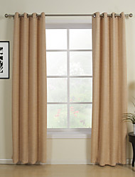 One Pair Classic Khaki Solid Energy Saving Curtains Drapes