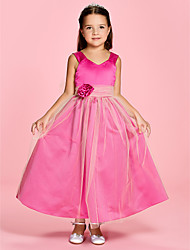 A-line Princess Ankle-length Flower Girl Dress - Satin Tulle V-neck Straps with Flower(s) Ruching
