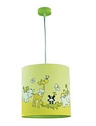 1 Light Pendant Light cylindroïde avec des animaux sur la lampe