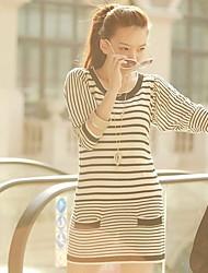 Mode Streifen Strickkleid
