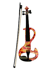 Kinglos - (DSZA-1003) Ebony Parts Electric Violin with Case/Rosin/Bow/Headphone/Cable (Rose-Design))