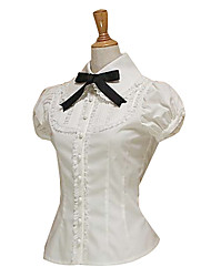 Short Sleeve White Cotton Black Cravat Sweet Lolita Blouse