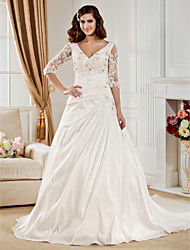 Ball Gown Plus Sizes Wedding Dress - Ivory Chapel Train V-neck Taffeta
