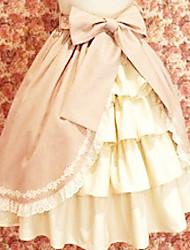 Joelho de comprimento Terylene Rosa Branco Ruffle Skirt Princesa Lolita