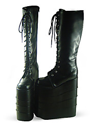 Black PU Leather 25cm Platform Punk Lolita Boots