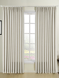 Two Panels Beige Solid Faux Linen Living Room Curtains Drapes