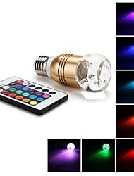 E27 3W RGB Light Gold Cover LED Crystal Ball Bulb (85-265V)