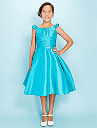 Lanting Bride® Knee-length Taffeta Junior Bridesmaid Dress A-line / Princess Scoop Natural with Draping / Side Draping / Ruching