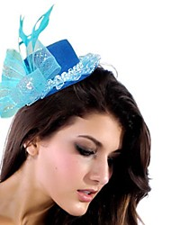 Simple Blue Net / Nylon Mit Feather Damen Fascinators