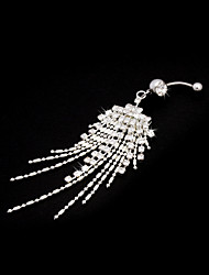 Stainless Steel Tassel Crystal Belly Ring