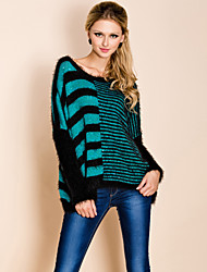TS Asymmetrical Stripes Design Pulled Fabric Sweater
