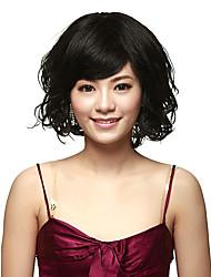Capless 100% Human Hair Short Curly Black Wig