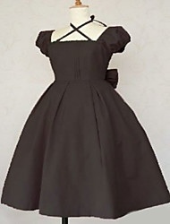 Une Pièce/Robes Lolita Classique/Traditionnelle Lolita Cosplay Vêtements de Lolita Marron Couleur Pleine Manches courtes Moyen Robe Pour