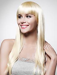 capless extra longa alto grau de qualidade peruca loira de cabelo sintético em linha reta (0463-lpp699)
