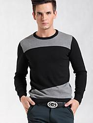 suéter cor de contraste de moda malha
