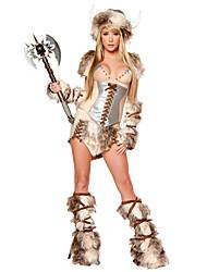 Costumes de Cosplay / Costume de Soirée Soldat/Guerrier Fête / Célébration Déguisement Halloween Beige MosaïqueHaut / Jupe / Gants /
