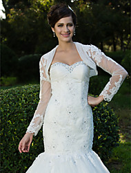 Wedding  Wraps Coats/Jackets Long Sleeve Lace / Tulle White Party/Evening Appliques / Beading Open Front