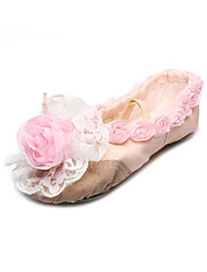 Handmade Canvas Dance Shoes Split-sole Ballet Slipper With Rose For Kids