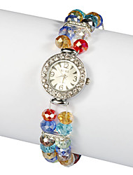 Lovely Lampwork Glass Band with Crystal Quartz Dress Watch