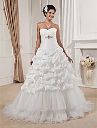 bola vestido strapless varrer / escova de trem tafetá e organza vestido de noiva