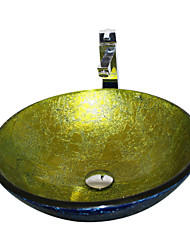 4259 trempé Évier rond en verre navire avec robinet et anneau de montage et Pop-Up Drain