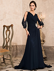 Formal Evening/Military Ball Dress - Dark Navy Plus Sizes A-line/Princess V-neck Sweep/Brush Train Chiffon