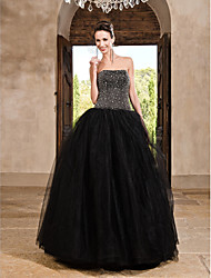 A-Line Ball Gown Princess Strapless Floor Length Satin Tulle Prom Dress with Beading by TS Couture®