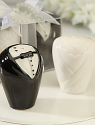 Ceramic Bride And Groom Salt & Pepper Shakers Wedding Favor (Set of 2)