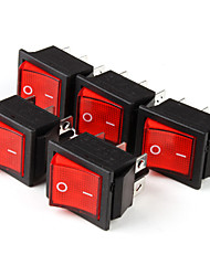 6-Pin Interruptores basculantes con indicador de luz roja (5-Piece Pack)
