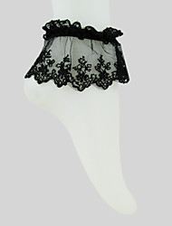 Black Cotton Lace Gothic Lolita  Ankle Socks