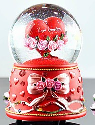Pretty  Resin Red Heart Design Snow Globe